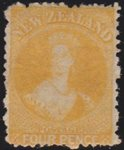 1873 4d Yellow. No Wmk. LHM.